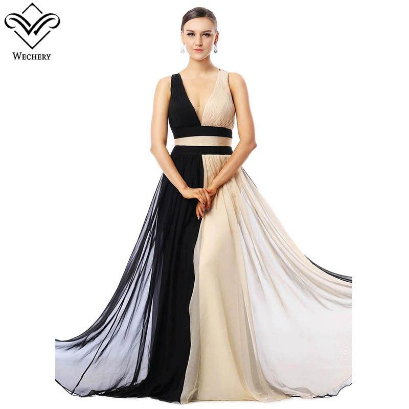 Wechery Women Dress 2018 New Chiffon Maxi Long Bandages Dresses Women Sexy Backless Black & Apricot Sleeveless V Neck Dress