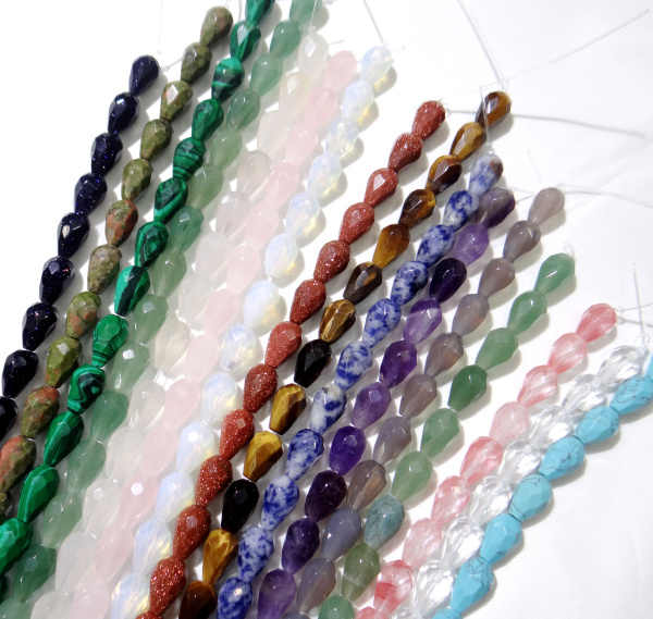 8*12mm naturalny kamień kwarcowy ametyst agat Opal fasetowany kropla wody spacer koraliki dla Diy wyrób biżuterii bransoletka naszyjnik 16pc