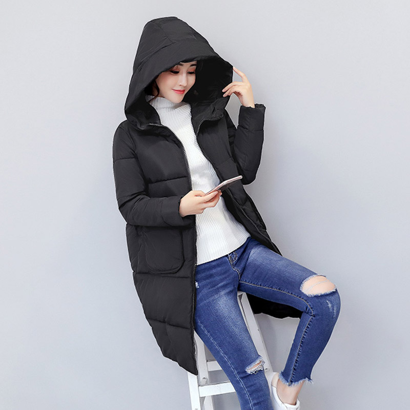 Winter Warm Thicken Parkas Female Overcoat 2017 Hooded Cotton Padded Jacket Coats Big Pocket Women Coat Zipper Basic Tops D026 new mens warm long coats lady cotton warm jacket padded coat hooded parkas coat winter top quality overcoat green black size 3xl