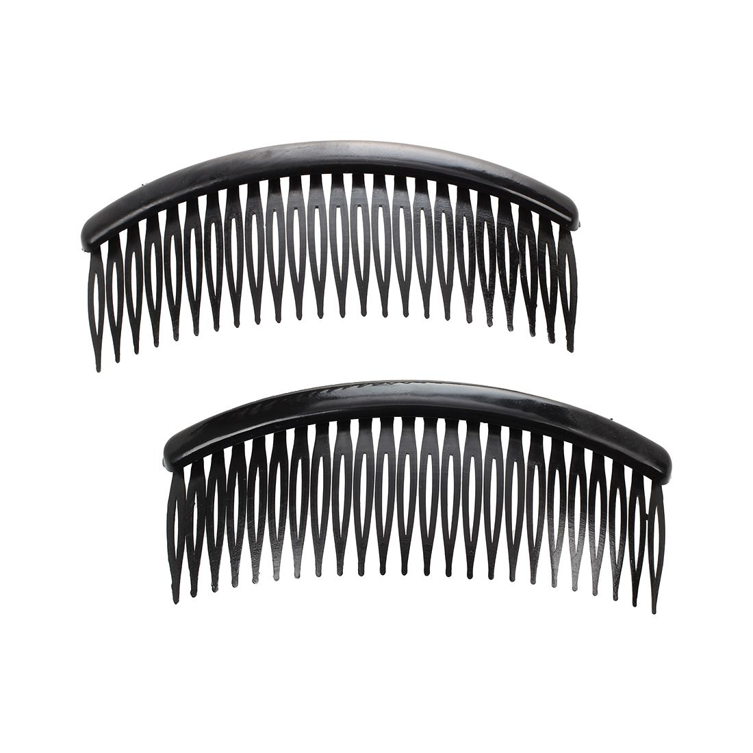 2 Pcs  Black Plastic 24 Teeth Hair Comb Clip Clamp For Lady Girls