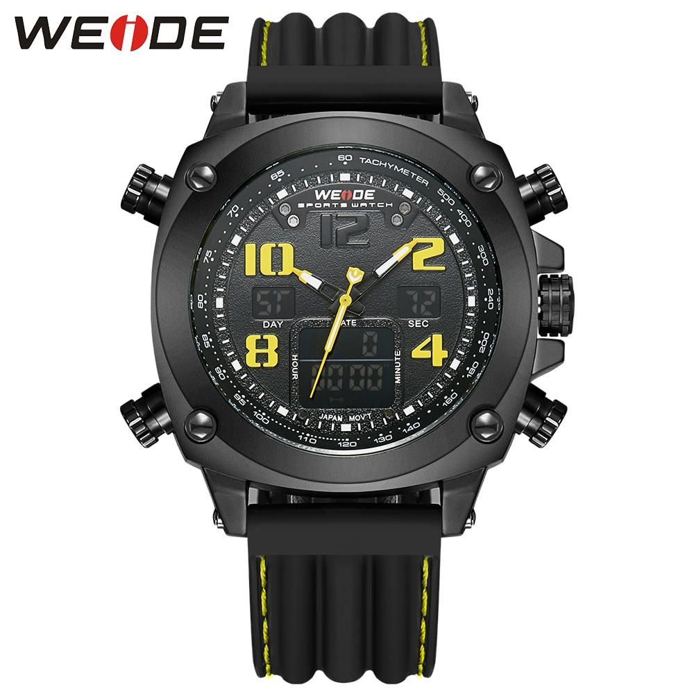 2018 Fashion WEIDE Yellow Dial Sport Watch Men Digital Quartz Watch Mens LED Dual Time Zone Man Wristwatch Rubber Band Relogios