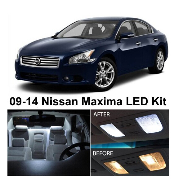 Free Shipping 15Pcs/Lot car-styling Xenon White Premium Package Kit LED Interior Lights For Nissan MAXIMA 2009-2014