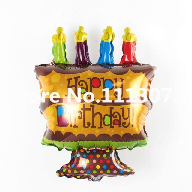 4pcs 48x26cm Small Air Balloons Cartoon Birthday Cake Aluminum Film