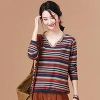 2019 spring & Winter Sweater Women Long Sleeve stripe pullover Women Basic cotton Sweater Women Korean Style Knitted Tops Femme