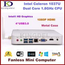 Intel Celeron 1037U Dual Core 1.8Ghz CPU Fanless Mini Desktop PC HTPC 2GB RAM 64GB SSD 1080P USB 3.0 port HDMI VGA Metal Case