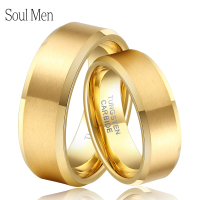 Soul Men 1 Pair Gold Color Couples Wedding Band His and Hers Tungsten Rings Set Hot Sale in Brasil Alliance Size 4 14 TU051RC