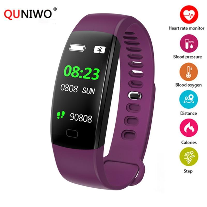 QUNIWO Intelligente del braccialetto Del Cuore Rate Monitor Wristband Fitness Braccialetto per Android iOS PK xio mi mi fascia 2 Fitbits smart orologio