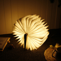 LED Night Light Folding Book Light USB Port Rechargeable Wooden Magnet Cover Home Table Desk Ceiling Decor Lamp White/Warm White