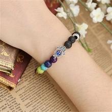 Nature Stone Bracelets 7 Chakras Bracelets For Women 2017 Sparkling Crystal Four Colors Healing Balance Beads