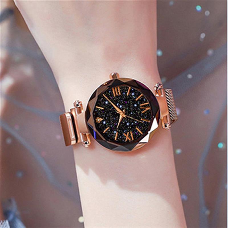 Fashion Ladies Starry Sky Watches Megnetic Mesh Band Stainless Steel Quartz Wristwatch Women Luxury Elegant Watch Rose Clock