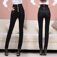 TDV S - 6XL Promotion 2016 New European Style Skinny Show Thin High Waist Pencil Pants Women Black Sexy Denim Jeans Trousers