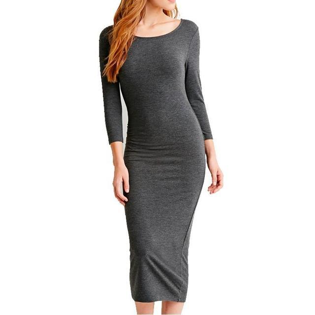 Women Dresses Cotton Long Sleeve Knee Length Midi Dress Slim Bodycon Bandage Autumn Black Wine Red Lady Bandage Dress