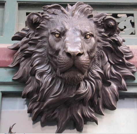 Us 339 94 50 Off Ymy 320 The Huge Lion Head Flat Bronze Sculpture Statue Art Hanging Wall H