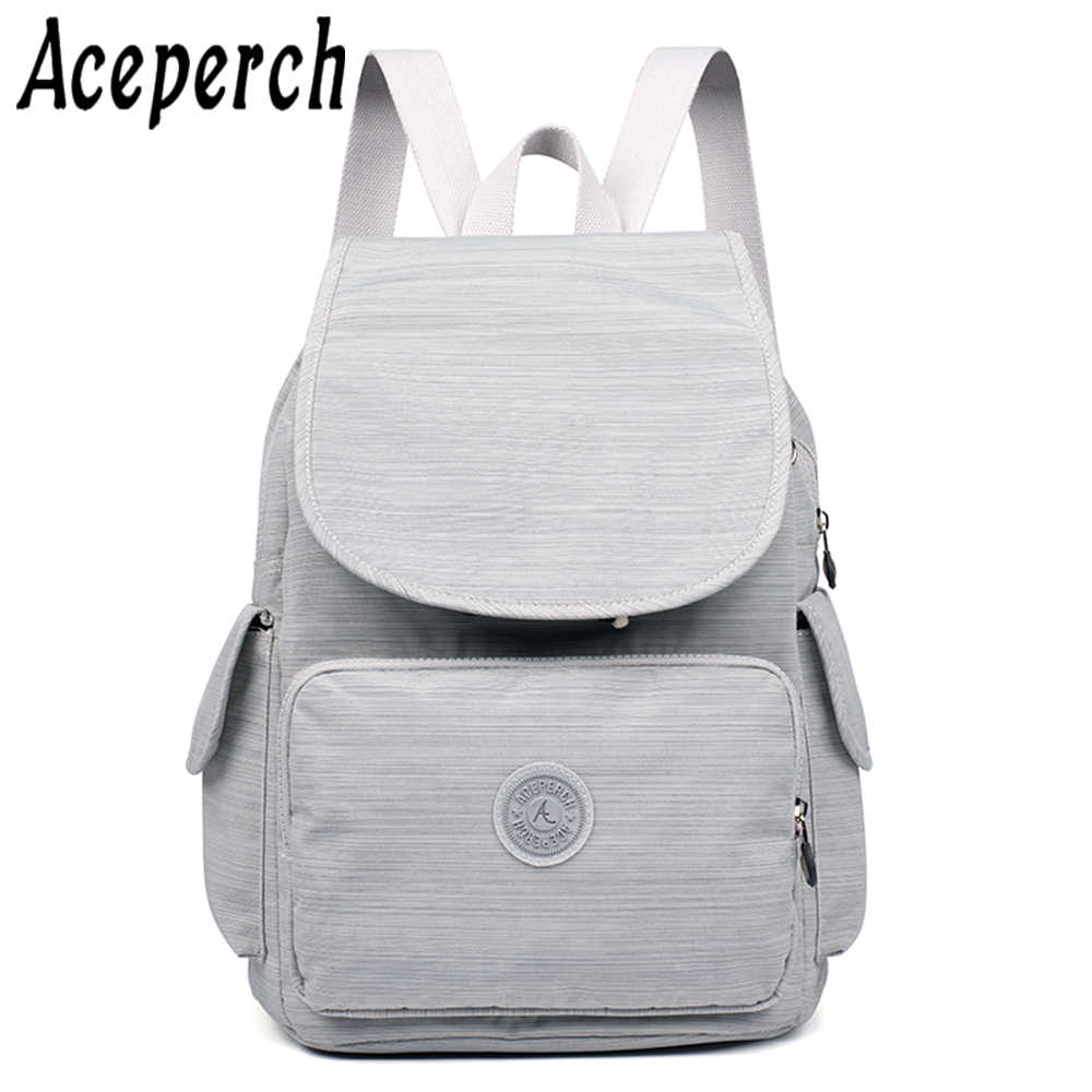 ACEPERCH Girl Nylon Backpack Female Original Backpacks Teenager School Bags Mochila Feminina Women Rucksack Mochilas Mujer 2019