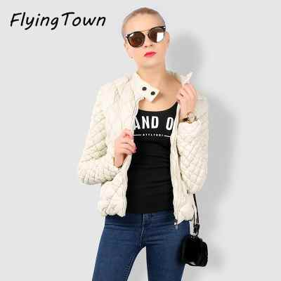 FlyingTown 2017 autumn winter fashion women thin black white short parkas Lozenge argyle female jacket coat casual clothes wear цена 2017