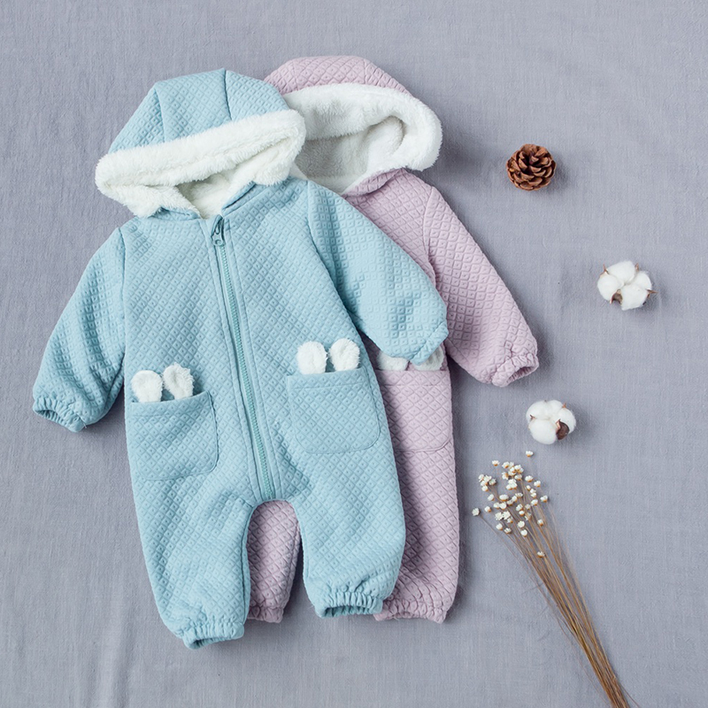 YiErYing Newborn Jumpsuits Leisure Pure Colour Thickening Cotton Baby Boys Girls Clothes Autumn Winter Warm Hooded Baby Romper cotton baby rompers set newborn clothes baby clothing boys girls cartoon jumpsuits long sleeve overalls coveralls autumn winter