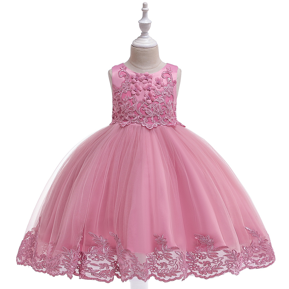 Sweet Girls Flower Girl Dresses European American Style Simple Solid Color Tulle Ankle length Formal Ball Gown For Little Girls