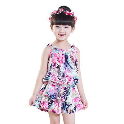 Toddler Girl Clothing Sets Summer Sleeveless Girls Outfits 2017 Princess Costume Print Straps Tops + Shorts 2-7Y Girls Clothes