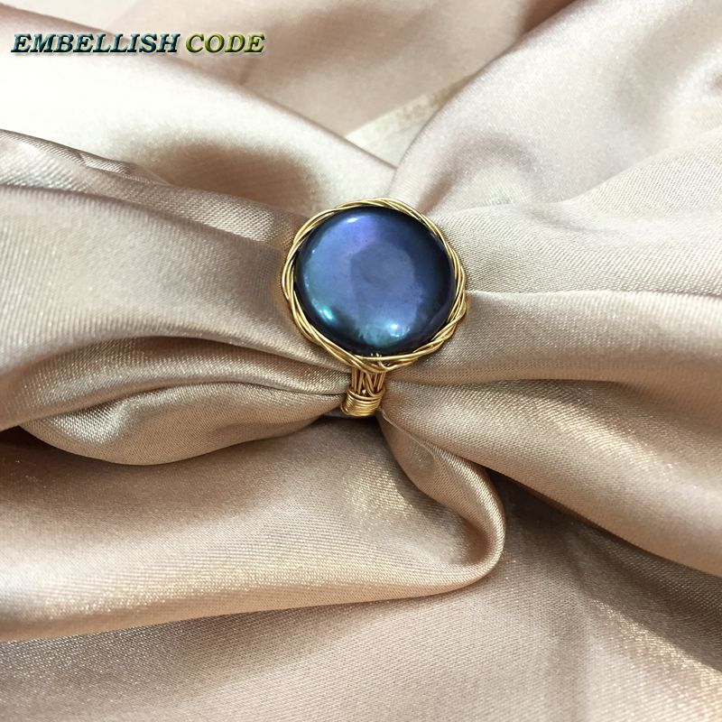 Admirable NEW Designer golden wire with big size baroque cultured pearls hand make ring black few