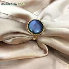 Admirable NEW Designer golden wire with big size baroque cultured pearls hand make ring black few blue color for women girl gift