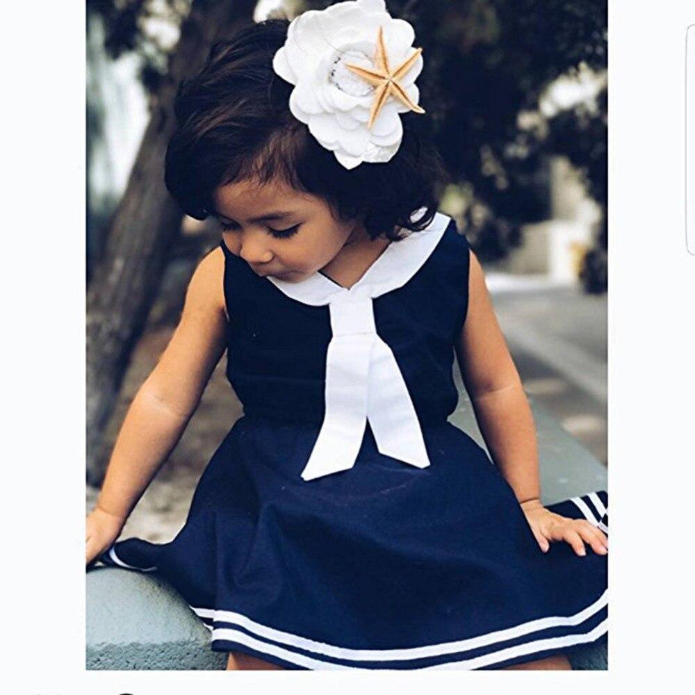 Baby Mädchen Kleid Sommer V ausschnitt Bowknot Sailor Streifen ...