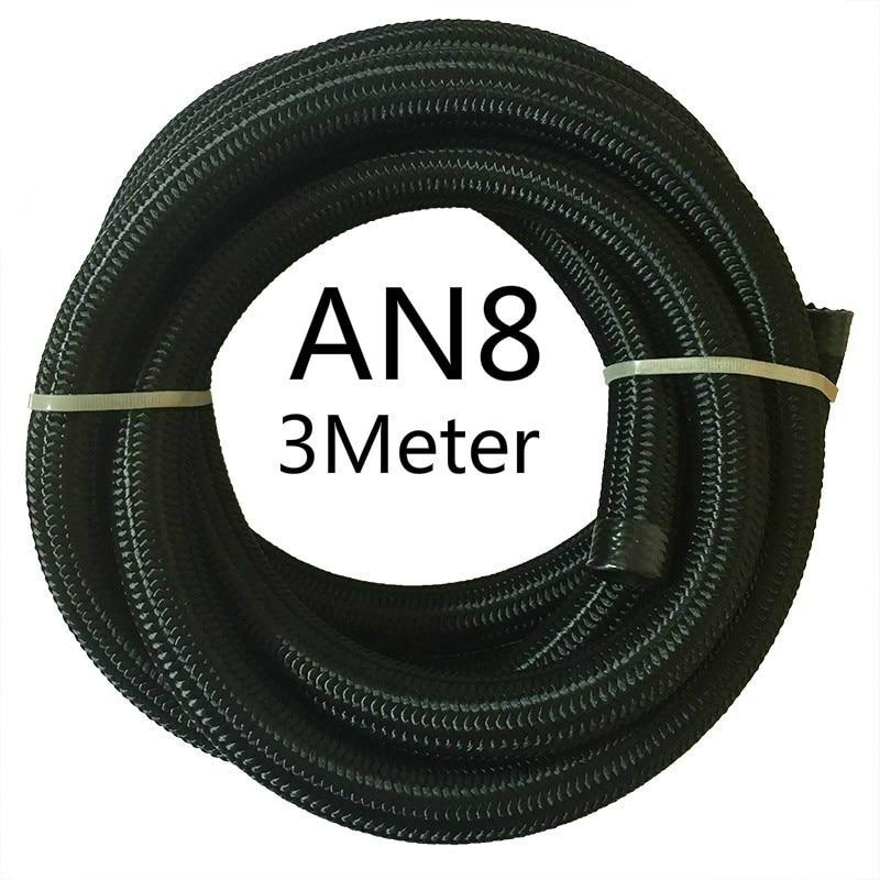 ESPEEDER 3M гоночный шланг нейлон-нержавеющая сталь шланг топливная линия Универсальный Масляный охладитель шланг Труба AN4 AN6 AN8 AN10 AN12 черный - Цвет: AN8