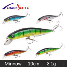 Купить с кэшбэком CRANK BAITS 10cm 8.1g Japan Hard Bait Minnow Fishing Lure Aritificial Wobblers Crankbait Pesca Hooks Fish Jerkbait YB42