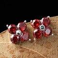 Известный бренд подлинные стерлингового серебра 925 природных полудрагоценный камень гранат цветы серьги красный корунд подруга подарок