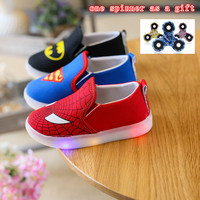 LED Light Batman Infant Shoes Cool Canvas Newborn Baby Boys Kids First Walkers Loafers Crib Bebe