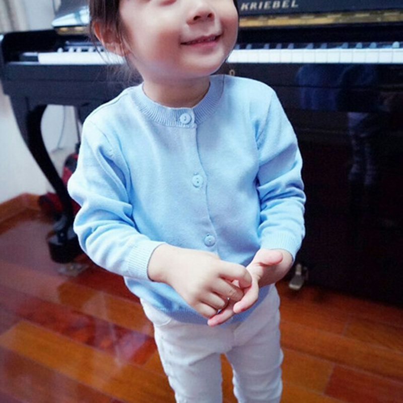 Baby Lovely Children Clothes Boys Girls Candy Color Knitted Cardigan Sweater Kids Spring Autumn Winter Cotton Outer Wear
