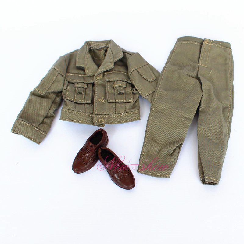 Clothes Set + Footwear /Males Clothings Set Winter Put on Military Inexperienced Employee Go well with Equipment For Barbie Boy 12′ Ken Doll Child toy
