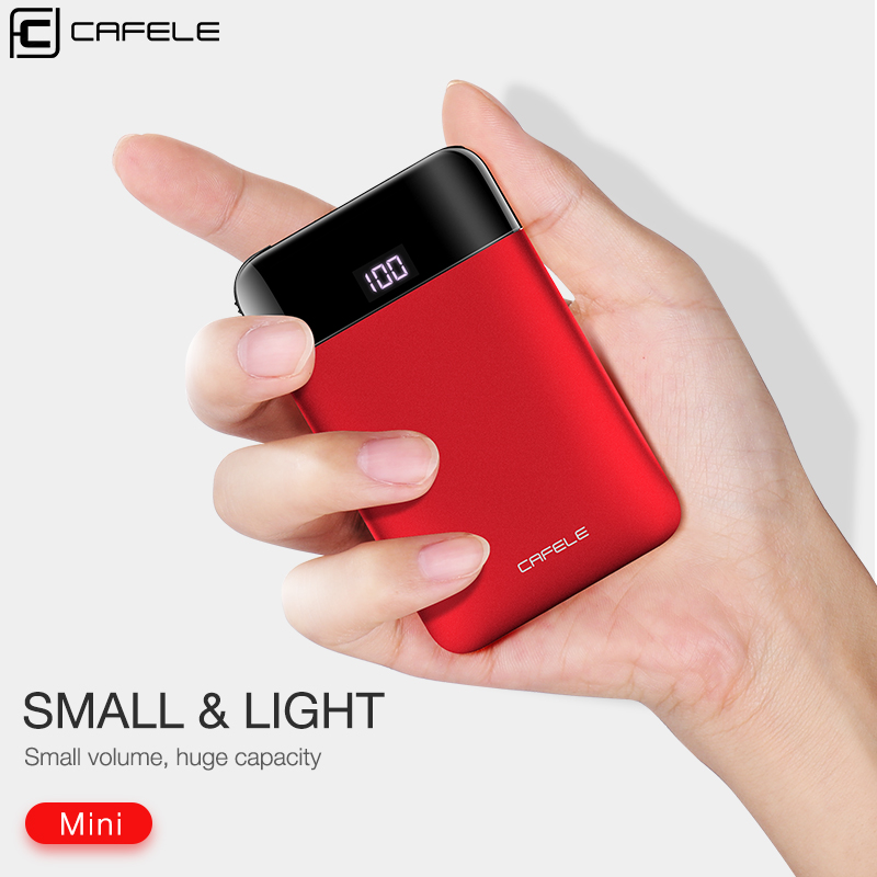 CAFELE Mini Power Bank Dual USB LED Display Portable External Battery Charger Powerbank For iphone X 8 samsung S9 huawei xiaomi