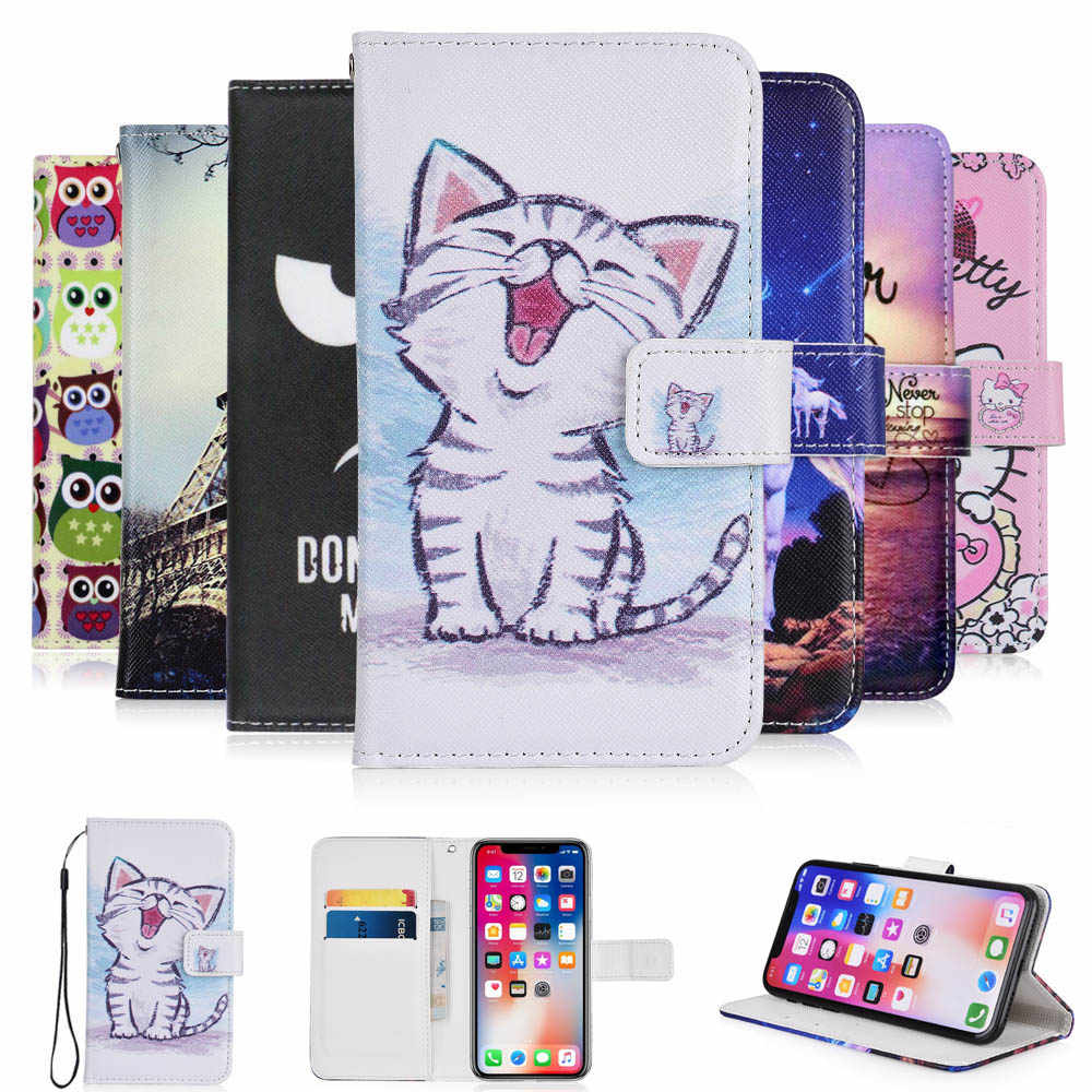 For Fly Power Plus 5000 case cartoon Wallet PU Leather CASE Fashion Lovely Cool Cover Cellphone Bag Shield