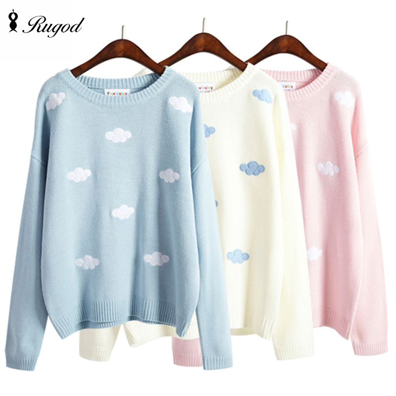 Kawaii Patch Knitted Sweater mujeres 2016 invierno otoño nubes lindas mujeres suéteres y pulóveres mujer Jumper Pull Femme
