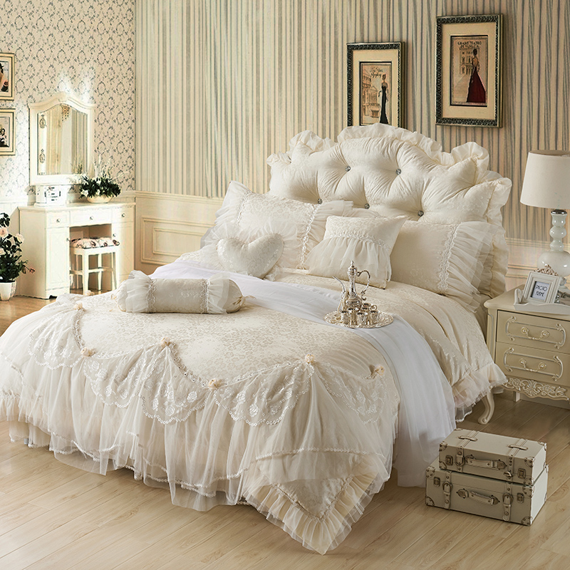 Luxury Jacquard Silk princess bedding sets queen king 4/6/8pcs Beige Lace Ruffles duvet cover bedspread bed skirt bedclothesLuxury Jacquard Silk princess bedding sets queen king 4/6/8pcs Beige Lace Ruffles duvet cover bedspread bed skirt bedclothes