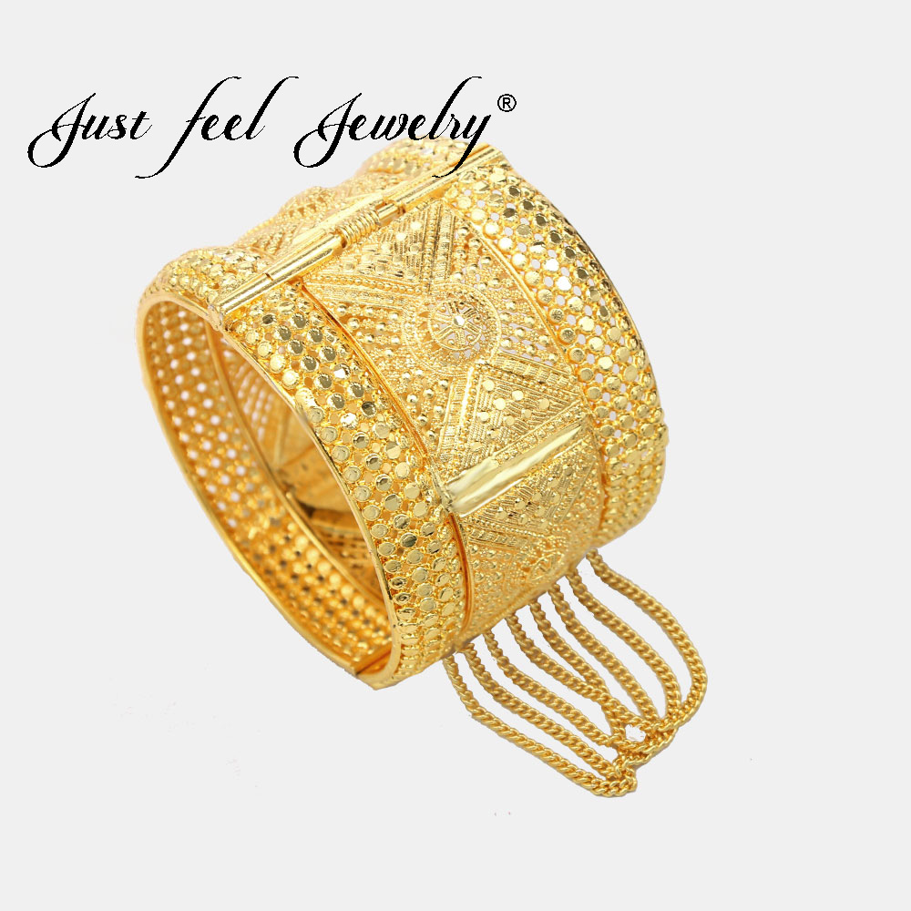 JUST FEEL Indian Brass Gold Color Bangle Bracelet for Women Luxury Wedding Dubai Bride Bracelet Arab Charm Jewelry Middle East