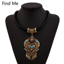 Find Me 2018 brand boho maxi necklace pendants power gem vintage ethnic collar choker statement necklace