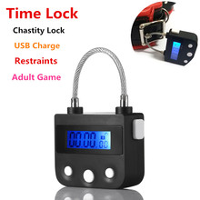 2018 Time Lock Fetish Handcuffs Mouth Gag Electronic Timer Bdsm Bondage Restraints Sex Toys for Couples Adult Game Chastity Lock