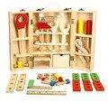Nueva casa de los niños caja de herramientas de madera set servicio de simulación juguete de los niños de múltiples función kit de herramientas caja de herramientas con la herramienta de tuerca como un regalo