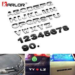 25mm carro auto chrome metal diy 3d arco letras digital alfabeto emblema decoração adesivos de carro logotipo automóveis acessórios do carro