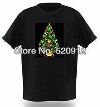 Partido Del Regalo de navidad Con música Activado el Sonido Intermitente Arriba y Abajo de Luz LED EL T-Shirt