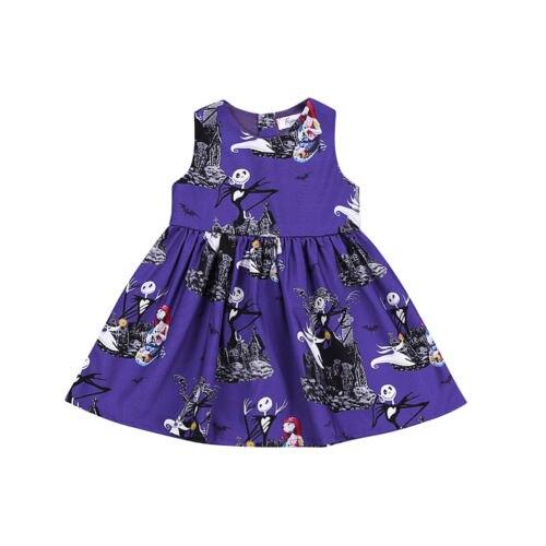 Brand New Lovely Children Baby Girls Ghost Print Sleeves Dress Sleeves Halloween Cute Dress Party Formal Dresses 2 to 7Y scoop neck halloween ghost print dress
