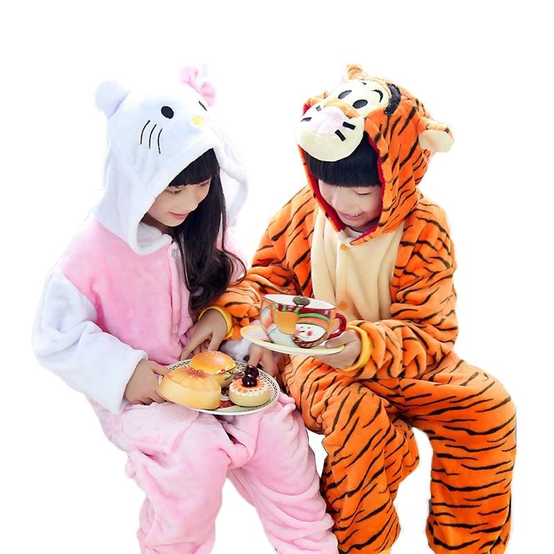 Top Quality Pajamas Japanese Animal Tigger KT Onesie For Kids Halloween Cosplay Costume Girls Boys Hooded Pijamas