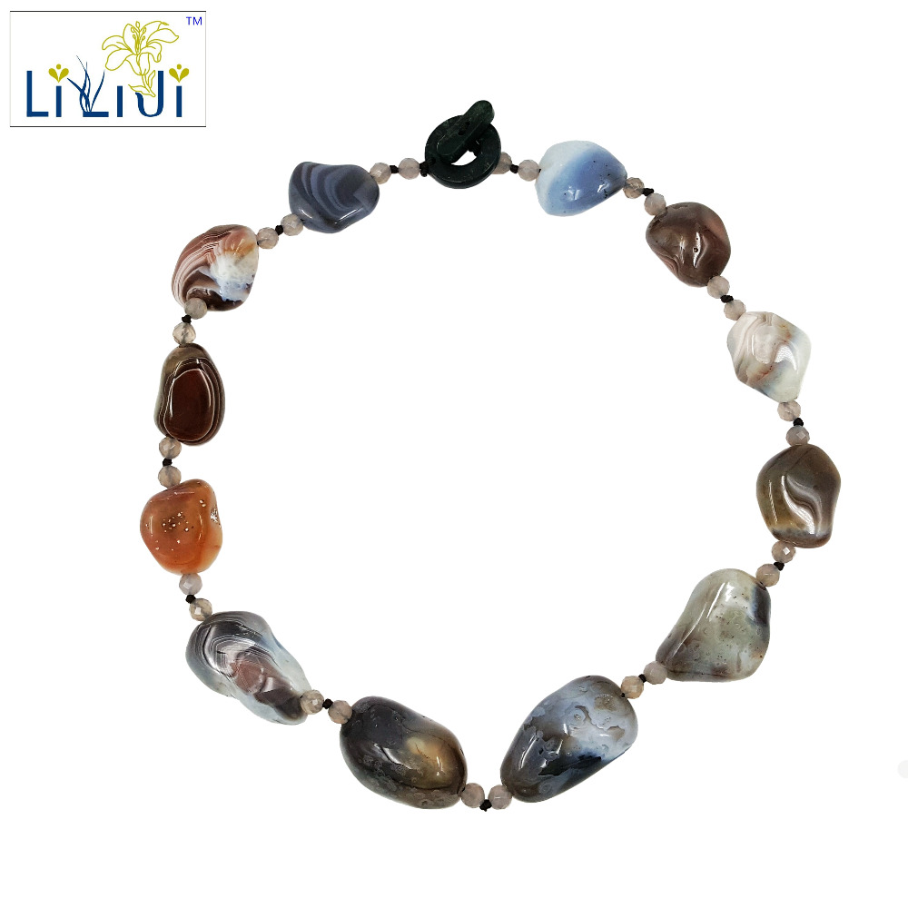 Lii Ji Natural Stone Botswana Agate Irregular beads Grey Agate Jade Toggle Clasp Necklace about 54cm hipsters faux jade carve leg irregular square mirrored sunglasses