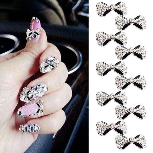 10pcs Alloy Nail Bow3d Metal Alloy Nail Art Decorationcharmsstuds