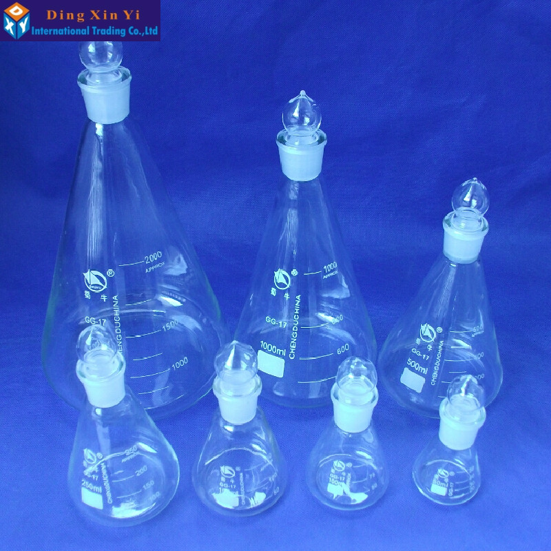 50-2000ml Glass Conical Flask With Cap Glass Erlenmeyer Flask Glass  For Laboratory Triangle Flask Boro 3.3 Glass
