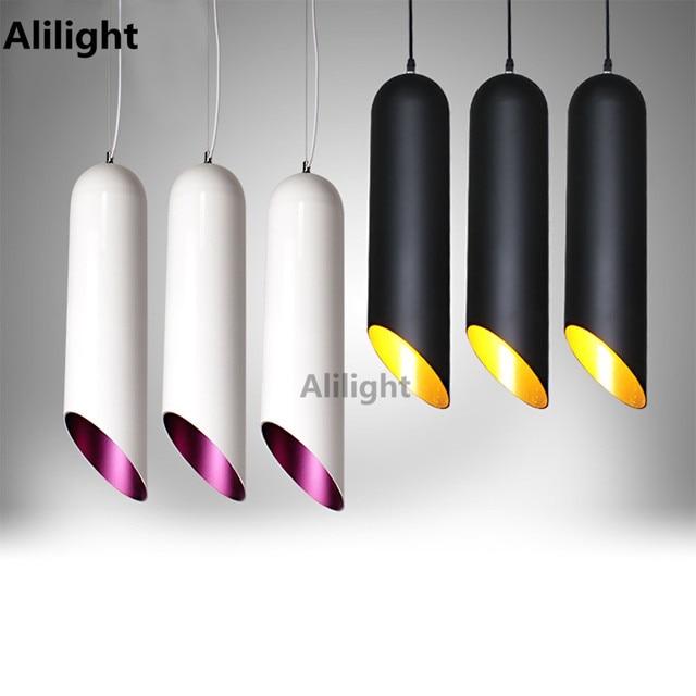 Modern Pendant Lamp Cylinder Pipe Pendant Light Black White Hanging ...