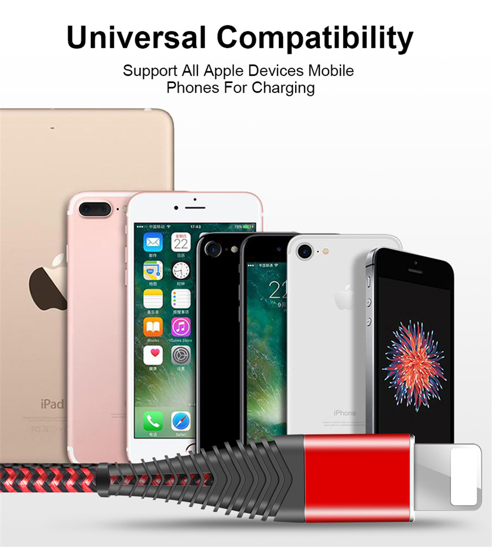 Coolreall USB CableCoolreall USB Cable for iPhone Xs max Xr X 8 7 6 plus 6s 5 s plus iPad 2.4A Fast Charging Cable Cord Mobile Phone Usb Data Cable 10