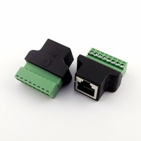 10x Ethernet RJ45 8P8C CAT Female Jack to AV Video Screw Terminal 8 Pin ADSL Connector Adapter