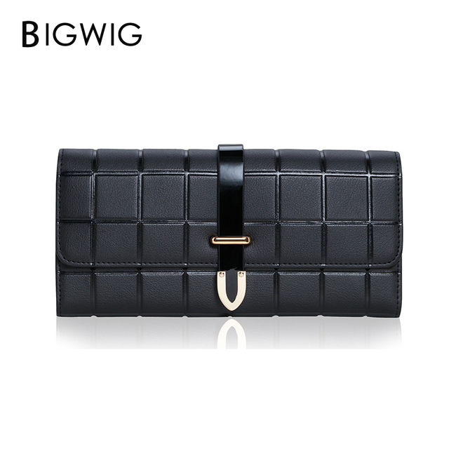 56345c138c5db0 BIGWIG Fashion Buckle New Women Wallet European American Style Hand Bag  Ladies wallet lattice pattern of and Brand Leather Long